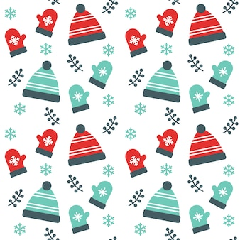 Christmas Beanie hat and Gloves Seamless Pattern Background