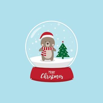 Рождественский медведь мультяшный персонаж с шляпой Санта-Клауса.