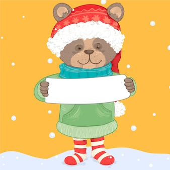 Christmas bear character holding blank banner