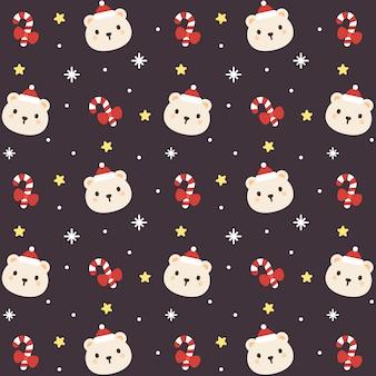 크리스마스 곰 원활한 패턴 배경