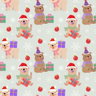 Christmas bear with gift seamless pattern.