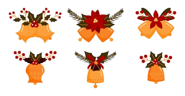 Christmas bell flat set. vintage jingle bells with xmas decor of berries, fir-tree cones, poinsettia.