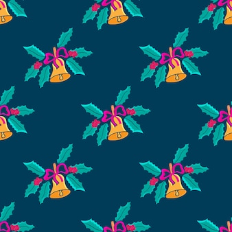 Christmas bell with a bow in the doodle style. mistletoe seamless pattern.