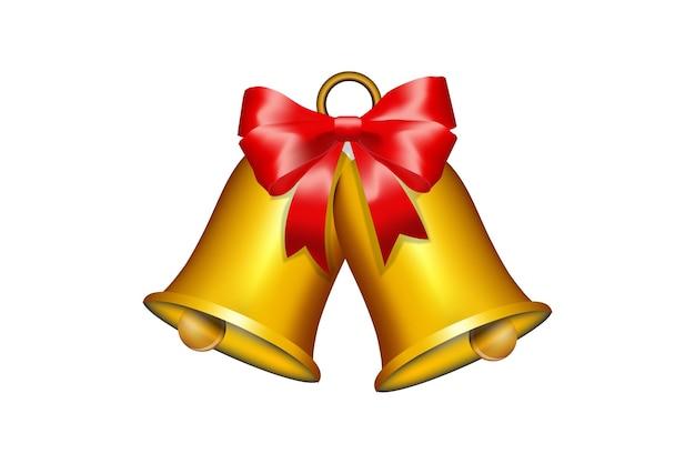 赤いリボンのテンプレートとクリスマスの鐘