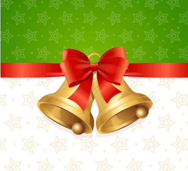 リボンカードの背景とクリスマスの鐘。