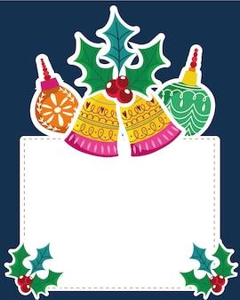 クリスマスの鐘と色のボールヒイラギ植物