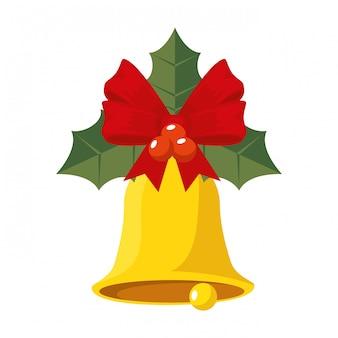 크리스마스 종소리와 잎 장식 아이콘