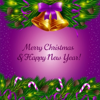 Christmas bells and candy canes on violet background