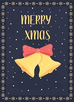 クリスマスの鐘のグリーティングカードフラットテンプレート。冬の休日の挨拶。ホリデーシーズンのお祝い。パンフレット、小冊子1ページのコンセプトデザインと漫画のキャラクター。メリークリスマスチラシ、リーフレット