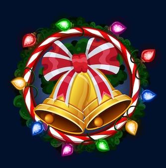 Рождественские колокольчики в рамке