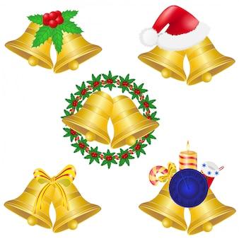 Christmas bells set icons