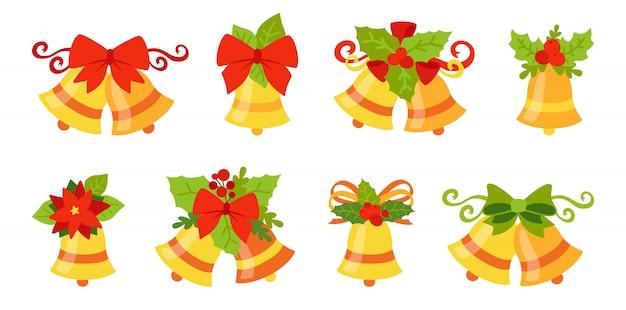 Рождественские колокольчики с бантами и холли Premium векторы