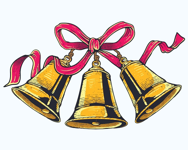 Christmas bells with red ribbon