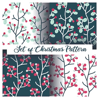 Christmas berries and leaves seamless pattern set