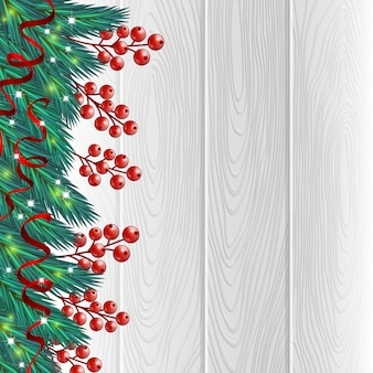 Christmas berries white background