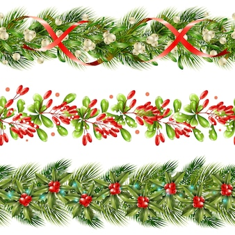 Christmas berry border seamless pattern set