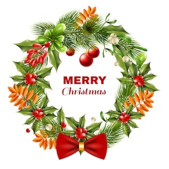 Рождественский венок из ягодных веток