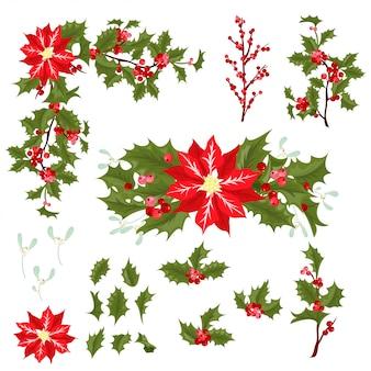 Christmas berry flower vector illustration.