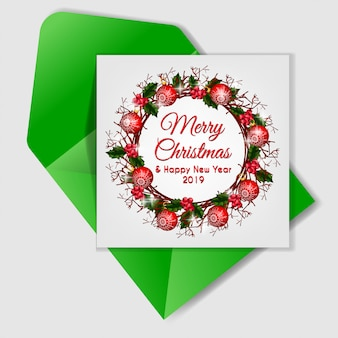 Christmas berry wreath card with christmas chandelier