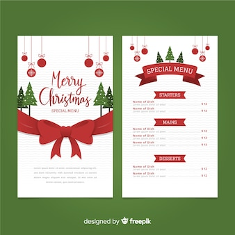 Christmas big bow menu template
