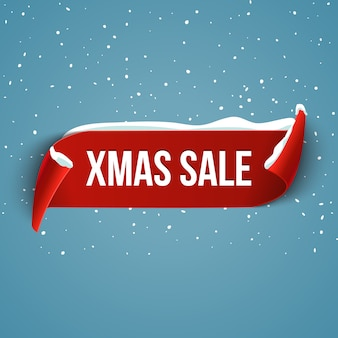 Christmas big sale background with red realistic ribbon with snow.