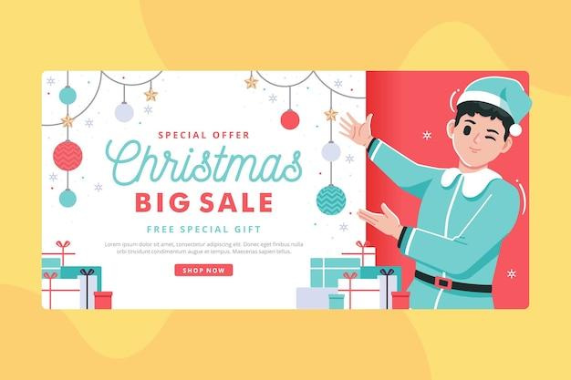 Рождественская большая распродажа баннер иллюстрация