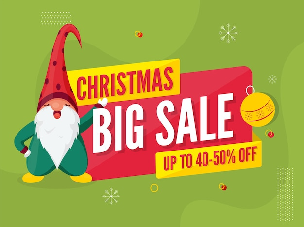 Christmas big sale poster discount offer and cartoon gnome character on green background.