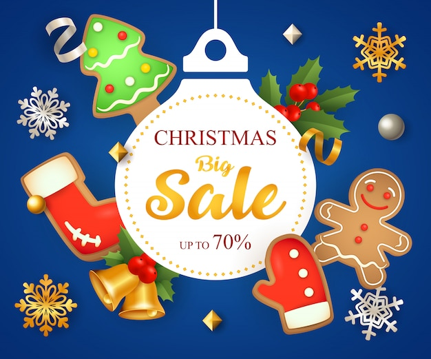 Christmas big sale with decoration and cookies
