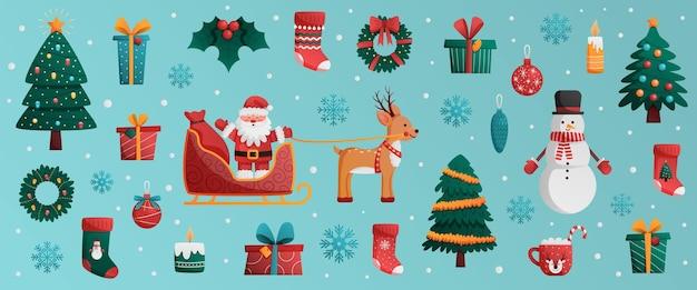 크리스마스 큰 세트 새해 휴일 장식 요소 벡터