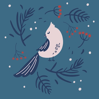 Christmas bird and a wreath of fir branches. traditional christmas decor of fir branches, berries with hand draw winter bird. holiday banner, web poster, flyer, stylish brochure, greeting card.