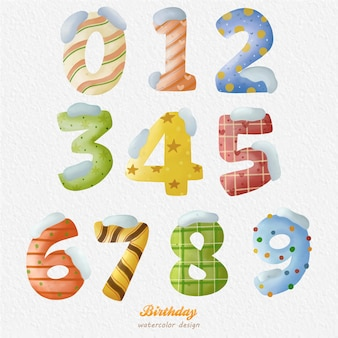 Christmas birthday number 09 watercolor illustration and snow christmas element vector