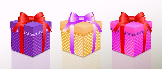 Christmas or birthday presents gift box set with colorful wrap and ribbons
