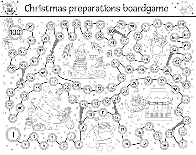 かわいい動物とサンタクロースの教育イノシシを持つ子供のためのクリスマスの白黒ボードゲーム