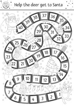 귀여운 동물들과 산타클로스가 있는 아이들을 위한 크리스마스 흑백 보드 게임. 사슴, 산타, 전나무, 선물이 있는 교육용 보드게임. 재미있는 겨울 인쇄 가능한 활동 또는 색칠 공부 페이지.