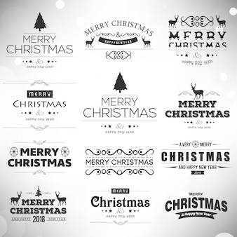 Christmas Black and White Creative Typographies on plain background