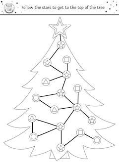 子供のためのクリスマスの黒と白の迷路冬の印刷可能な活動の休日の着色のページ