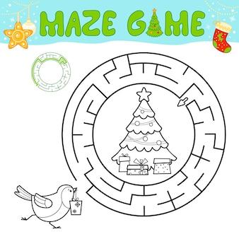 子供のためのクリスマスの黒と白の迷路パズルゲーム。クリスマスバードでサークル迷路や迷路ゲームの概要を説明します。