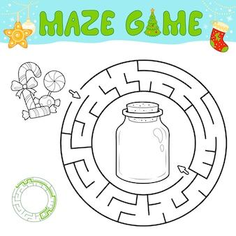 子供のためのクリスマスの黒と白の迷路パズルゲーム。クリスマスキャンディーでサークル迷路や迷路ゲームの概要を説明します。