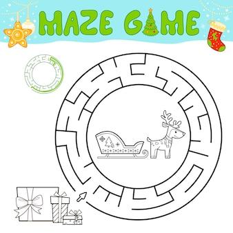 子供のためのクリスマスの黒と白の迷路パズルゲーム。クリスマスそりでサークル迷路や迷路ゲームの概要を説明します。