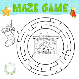 子供のためのクリスマスの黒と白の迷路パズルゲーム。クリスマスソックスと暖炉のあるサークル迷路または迷路ゲームの概要を説明します。