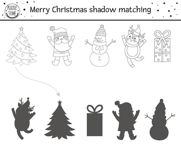 어린이를 위한 크리스마스 흑백 섀도우 매칭 활동. 겨울 색칠 페이지입니다. 귀여운 눈사람, 사슴, 산타가 있는 아이들을 위한 교육 게임. 올바른 실루엣 워크시트를 찾으십시오.