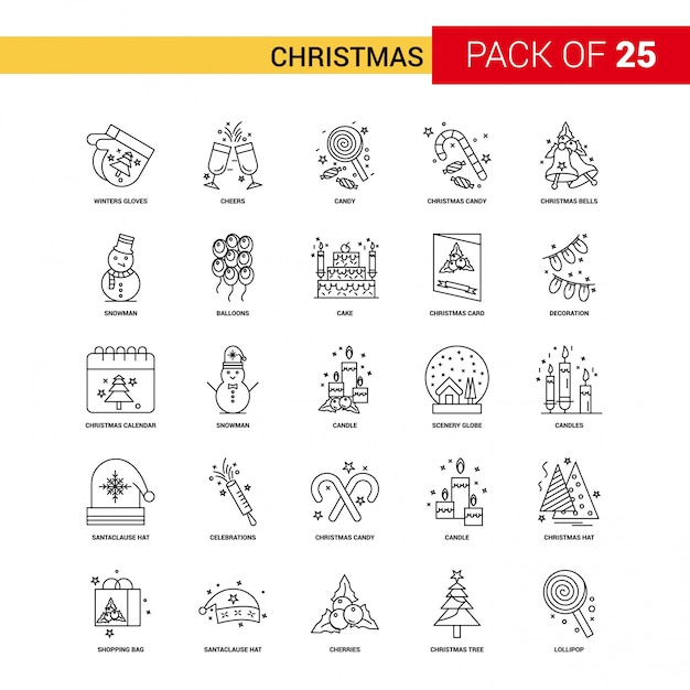 Christmas black line icon - 25 business outline icon set