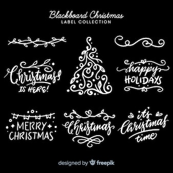 Christmas blackboard badge pack