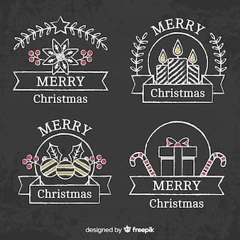 Christmas blackboard badge pack