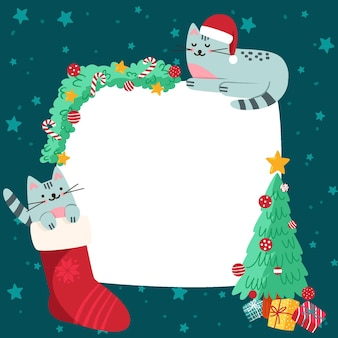Christmas blank banner with cats