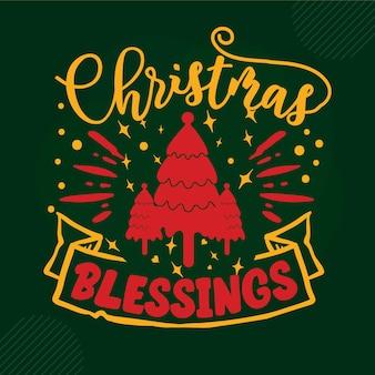 Christmas blessings lettering premium vector design