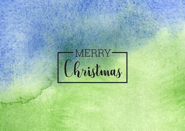 Рождественский синий и зеленый акварельный фон