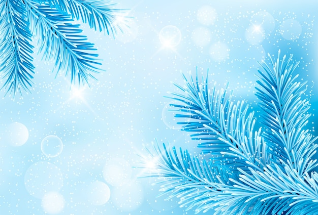Christmas blue background with christmas tree branches and snowflakes