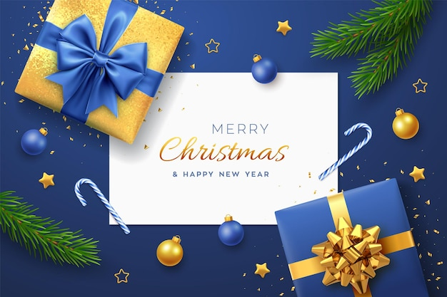 Christmas blue background with square paper banner, realistic gift boxes with green and golden bows, pine branches, gold stars and confetti, balls bauble. xmas background, greeting cards. vector.