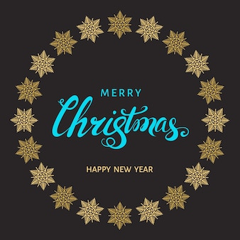 Christmas  blue hand lettering with golden  snowflakes on black  background. vector greeting  card.